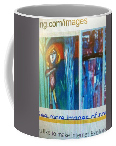 Coffee Mug featuring the painting Flashdancing Towers Activate For The Gold Dusting Spirited Woman Of 9l1 And 9l2 by Ronald Carlino