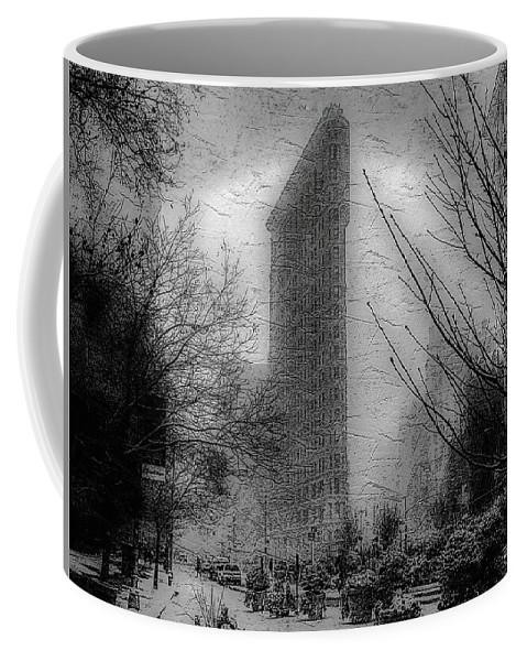 New York Coffee Mug featuring the photograph Flat Iron Snow by Jeff Watts