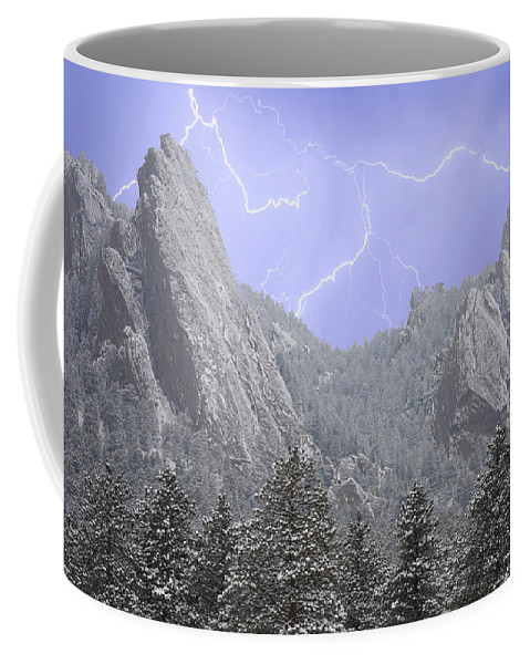 Flatirons Coffee Mug featuring the photograph Flatirons Lightning by James BO Insogna