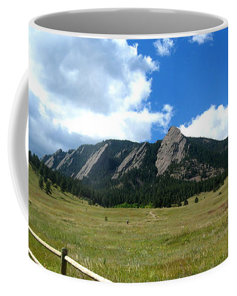 Flatiron Coffee Mug featuring the photograph Flatirons Panorama by Thomas Marchessault