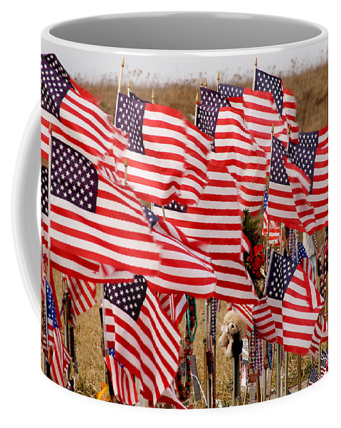 Flags Coffee Mug featuring the photograph Flight 93 Flags by Jean Macaluso