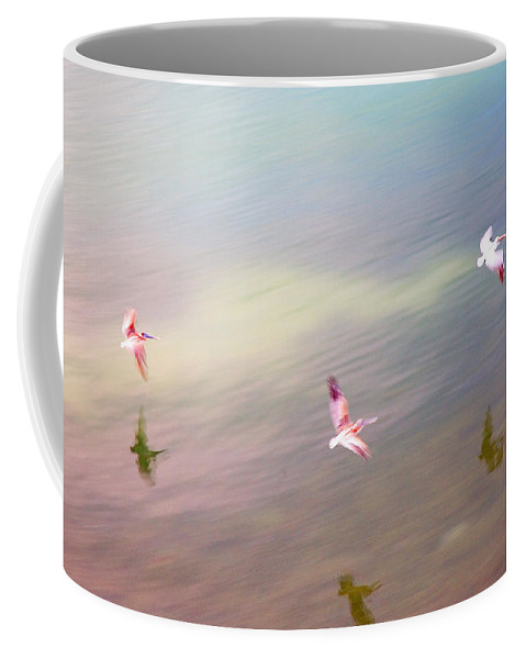 Pelicans Coffee Mug featuring the photograph Flight Impressions by Mal Bray