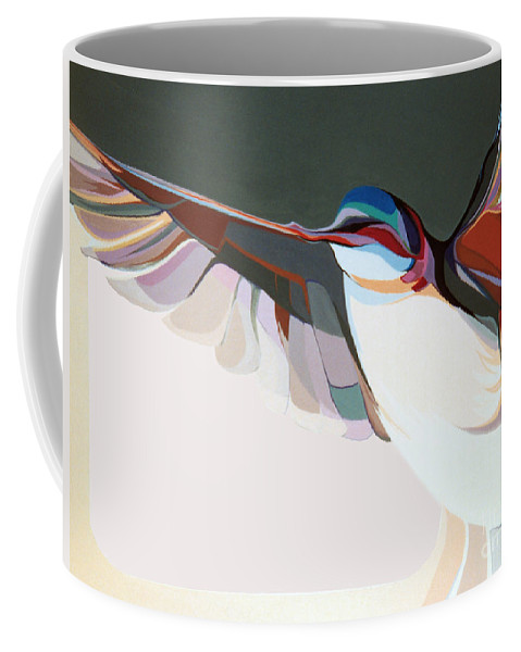 Abstract Coffee Mug featuring the painting Flight Of Fancy by Marlene Burns