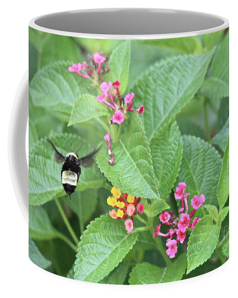 Bee Coffee Mug featuring the photograph Flight Of The Bumble Bee by Carol Groenen