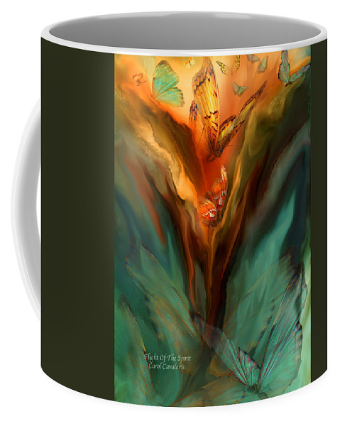 Butterfly Coffee Mug featuring the mixed media Flight Of The Spirit by Carol Cavalaris