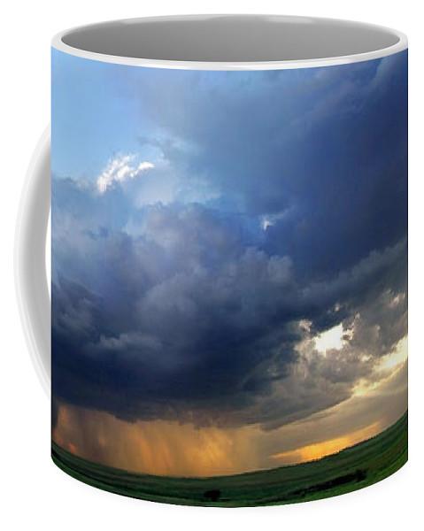 Storm Coffee Mug featuring the photograph Flint Hills Storm Panorama 2 by Eric Benjamin