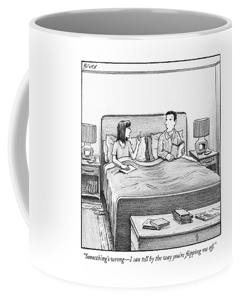 """something's Wrong Coffee Mug featuring the drawing Flipping Me Off by Harry Bliss"