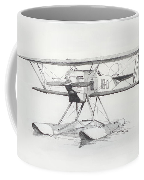 Float Plane Coffee Mug featuring the drawing Float Plane Ib10 by Mel Murphy