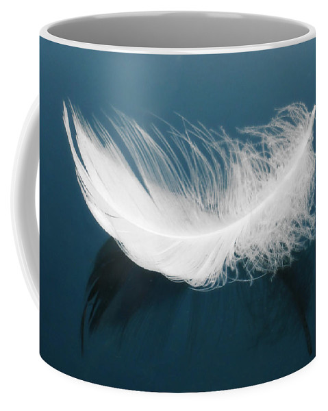 Aqua Coffee Mug featuring the photograph Floating Feather by Svetlana Sewell