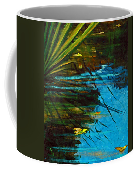 Acrylic Coffee Mug featuring the painting Floating Gold On Reflected Blue by Suzanne McKee