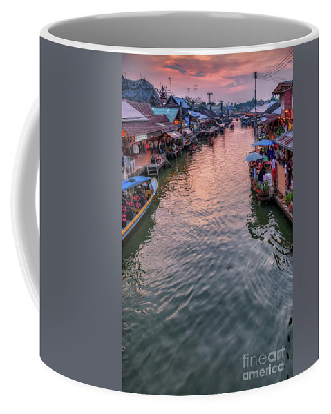 River Coffee Mug featuring the photograph Floating Market Sunset by Adrian Evans