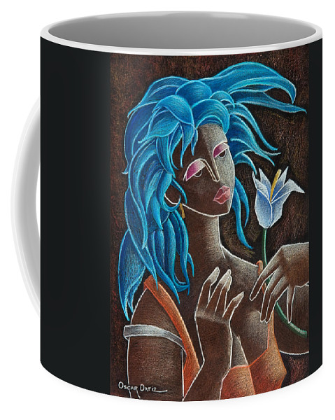 Puerto Rico Coffee Mug featuring the painting Flor Y Viento by Oscar Ortiz