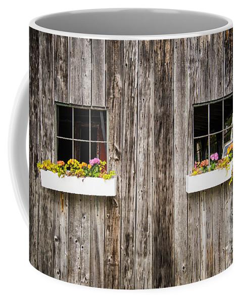 Floral Coffee Mug featuring the photograph Floral Barn Planters by Glenn Gordon