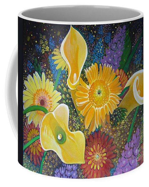 Flowers Coffee Mug featuring the painting Floral Fireworks by Helena Tiainen