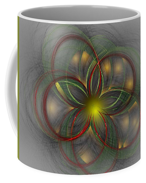 Abstract Digital Painting Coffee Mug featuring the digital art Floral Fractal 11-24-09 by David Lane