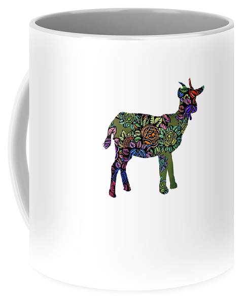 Baby-goat Coffee Mug featuring the digital art Floral Goat by Kaylin Watchorn