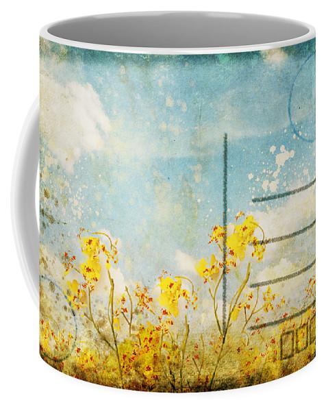 Address Coffee Mug featuring the photograph Floral In Blue Sky Postcard by Setsiri Silapasuwanchai