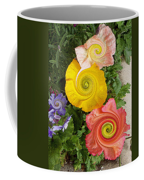 Floral Coffee Mug featuring the digital art Floral Kaleidoscope by Donna Blackhall