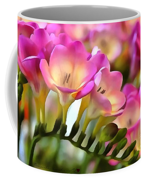 Floral She Sparkles Coffee Mug featuring the painting Floral She Sparkles by Catherine Lott