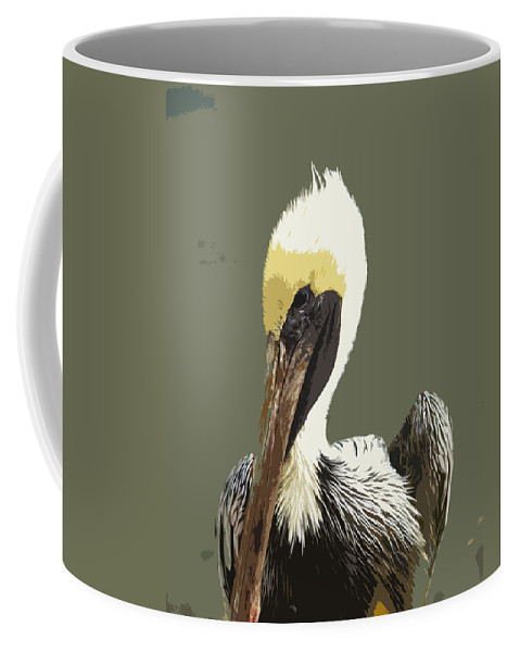 Pelican Coffee Mug featuring the painting Florida Brown Pelican by Allan Hughes