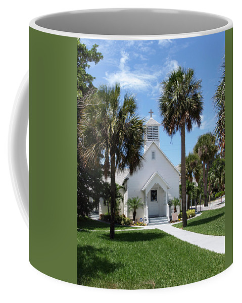 Chapel; Community; Melbourne; Beach; Florida; Melbourne Beach; Church; Congregationalist; Worship; M Coffee Mug featuring the photograph Florida Community Chapel by Allan Hughes