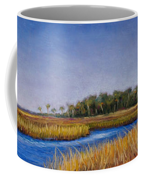 Florida Coffee Mug featuring the pastel Florida Marsh In June by Susan Jenkins