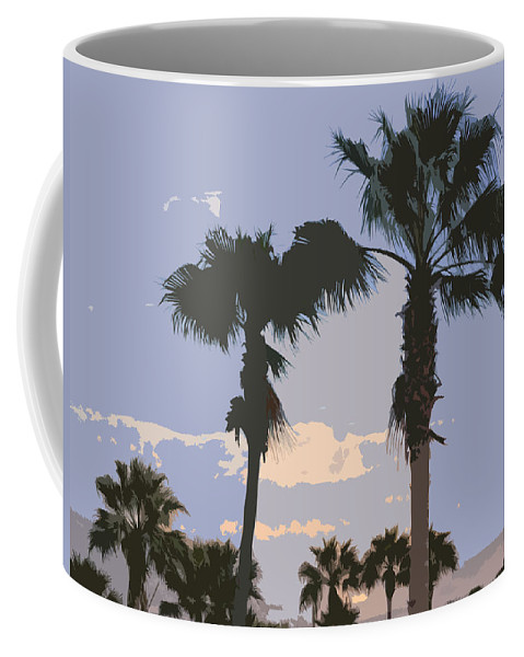 Florida Coffee Mug featuring the painting Florida Queen Palm Trees  by Allan Hughes