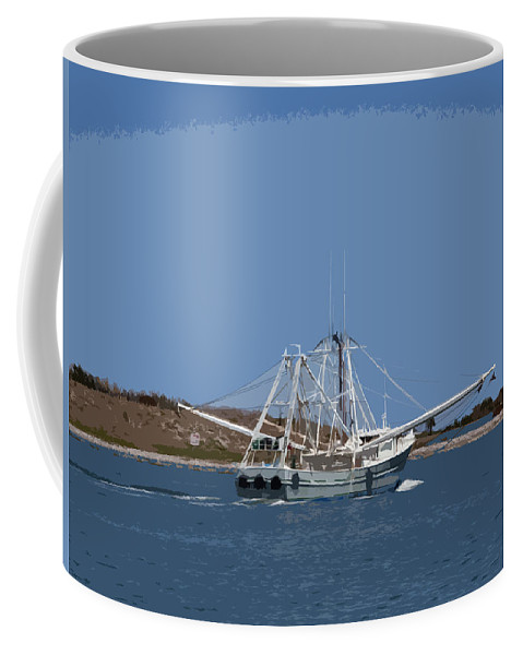 Shrimp Coffee Mug featuring the painting Florida Shrimper by Allan Hughes