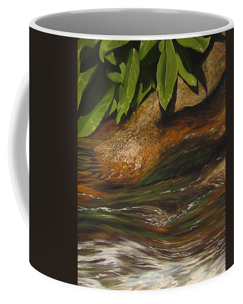 Colorado Mountain Stream Coffee Mug featuring the painting Flow by Hunter Jay