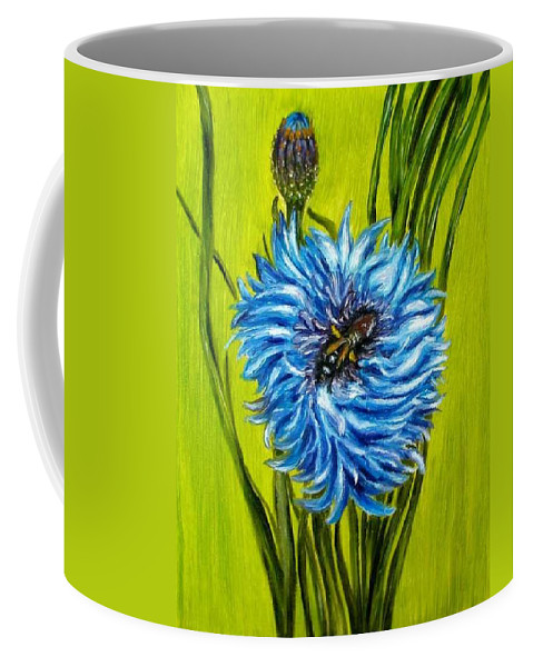 Floral Coffee Mug featuring the painting Flower and Bee oil painting by Natalja Picugina
