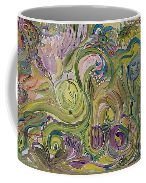 Abstract Coffee Mug featuring the painting Flower Composition by Rita Fetisov