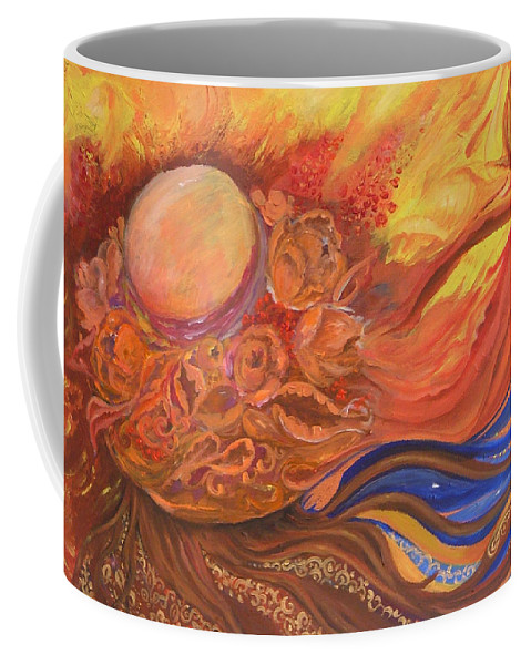 Abstract Coffee Mug featuring the painting Flower Dream by Rita Fetisov
