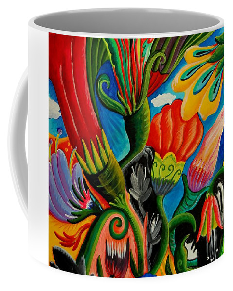 Floral Coffee Mug featuring the painting Flower Fusion by Betty Wick