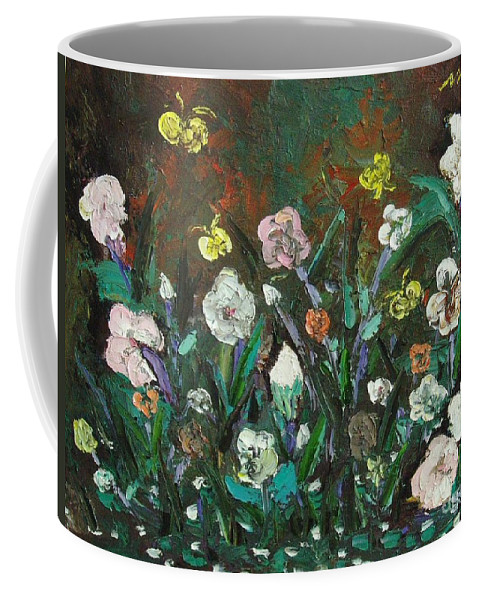 Abstract Paintings Coffee Mug featuring the painting Flower Garden by Seon-Jeong Kim