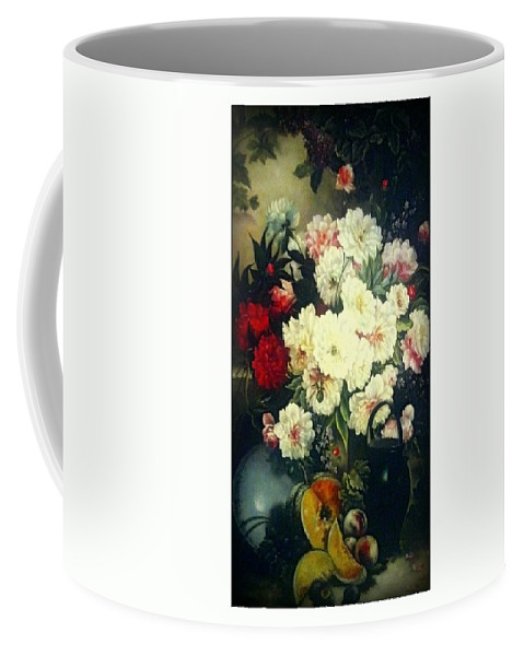 Flower And Fruits Coffee Mug featuring the drawing Flower Painting by Vijay Barath
