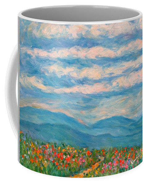 Blue Ridge Paintings Coffee Mug featuring the painting Flower Path To The Blue Ridge by Kendall Kessler