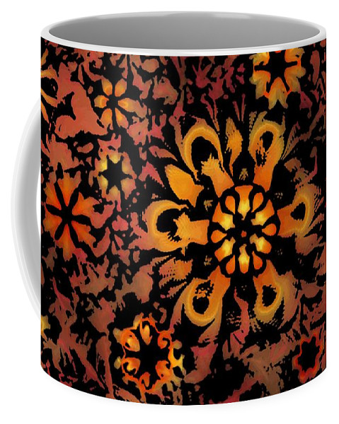 Abstract Digital Painting Coffee Mug featuring the digital art Flower Woodcut by David Lane