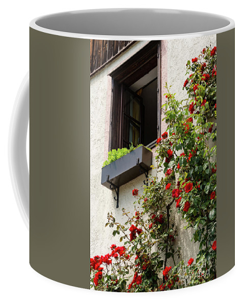 Durnstein Austria Window Flowers Windows Flower Bloom Blooms Architecture House Houses Structure Structures Building Buildings City Cities Cityscape Cityscapes Coffee Mug featuring the photograph Flowered Window by Bob Phillips