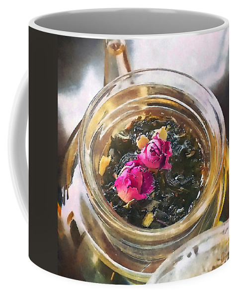 Flower Coffee Mug featuring the mixed media Flowering Tea by Stacey Chiew