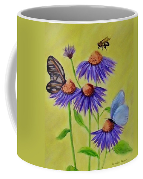 Butterfly Coffee Mug featuring the painting Flowers And Butterflies by Jamie Frier