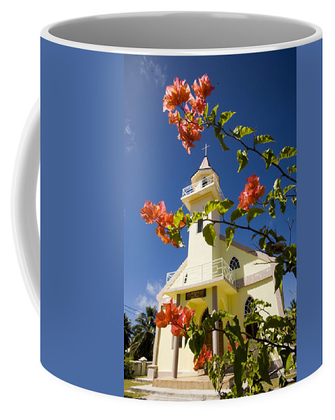 Flowers Coffee Mug featuring the photograph Flowers And Church On Takapoto Atoll by Tim Laman