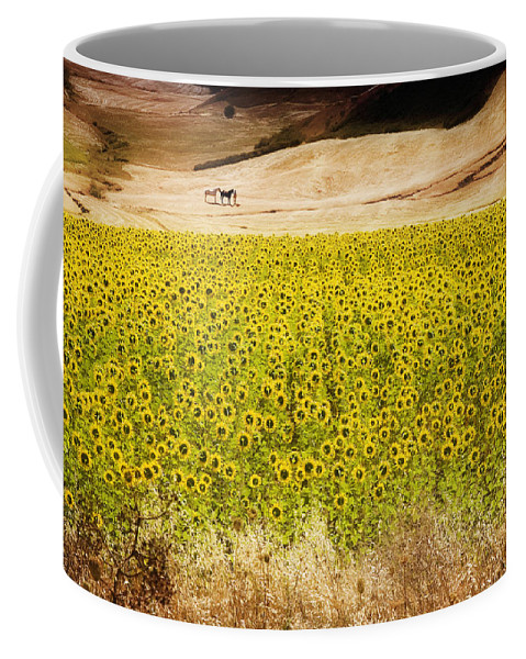 Spain Coffee Mug featuring the photograph Flowers And Horses Near Setinil Spain by Mal Bray