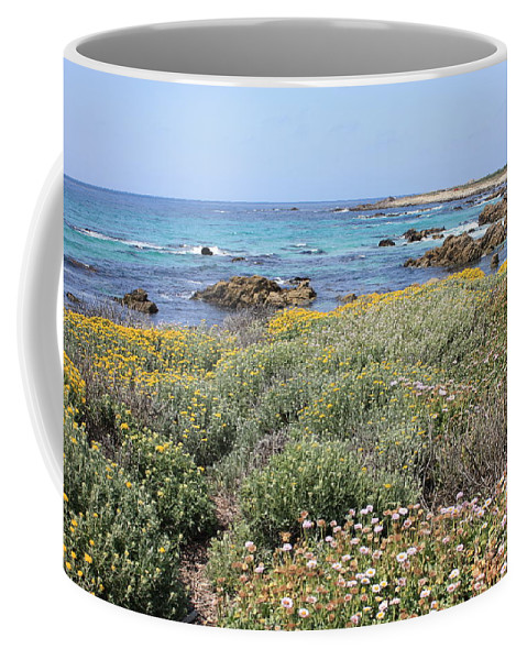 Coffee Mug featuring the photograph Flowers And Surf by Carol Groenen
