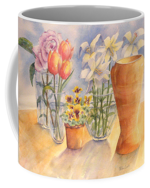 Watercolor Coffee Mug featuring the painting Flowers And Terra Cotta by Debbie Lewis