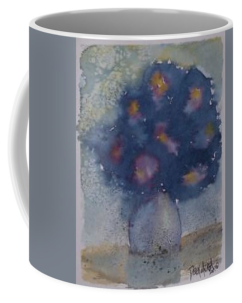 Watercolor Coffee Mug featuring the painting Flowers At Night Original Abstract Gothic Surreal Art by Derek Mccrea