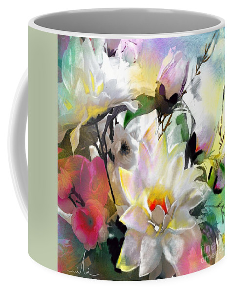 Flowers Painting Drawing Art Coffee Mug featuring the painting Flowers For My Friend by Miki De Goodaboom
