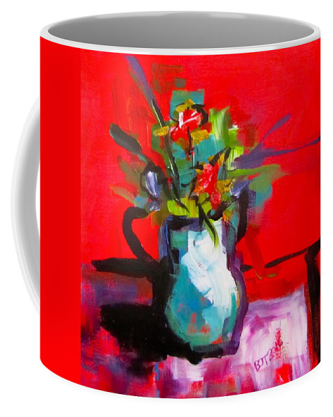 Red Coffee Mug featuring the painting Flowers In Blue Green Pitcher by Barbara O'Toole