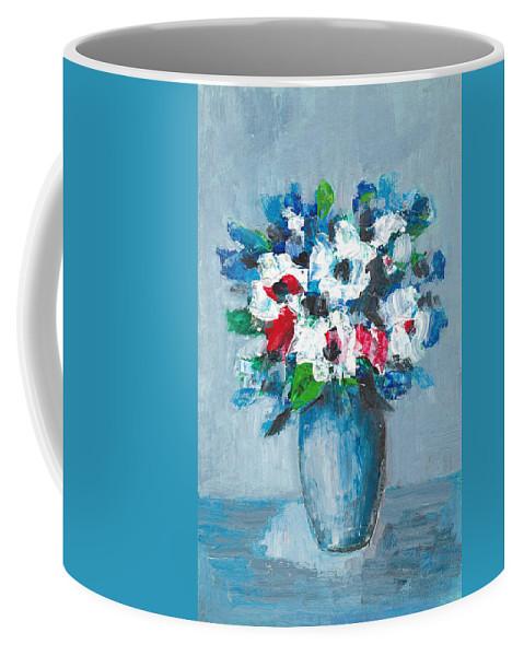 Blue Coffee Mug featuring the painting Flowers In Blue Vase by Cuiava Laurentiu