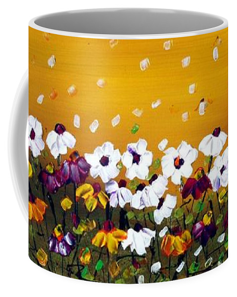 Flowers Coffee Mug featuring the painting Flowers In The Sunset by Luiza Vizoli