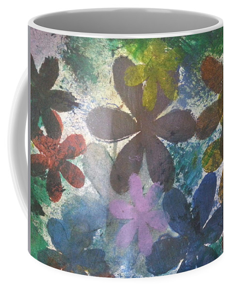 Coffee Mug featuring the mixed media Flowers by Jan Pellizzer